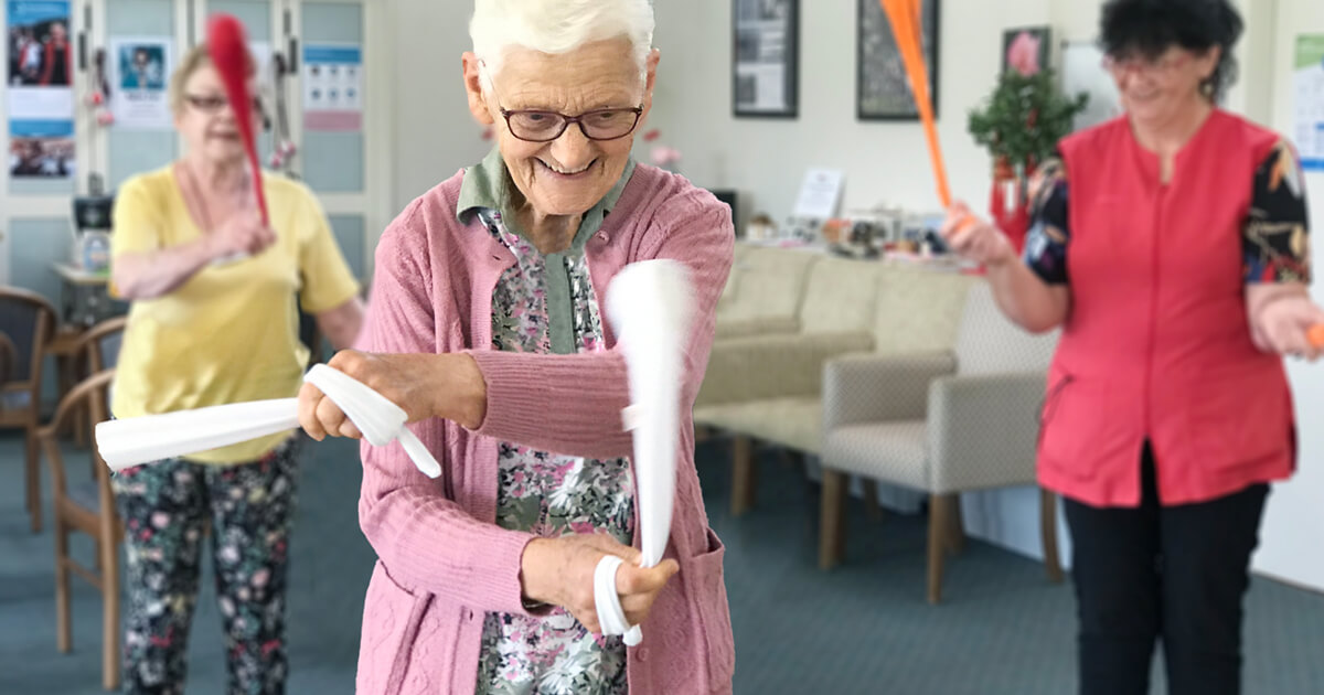 Aged care exercise programs are incorporating poi as a new way to keep the mind and body fit.